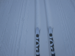 Skis in grooves for classic cross-country action