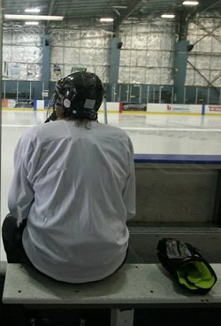 Waiting to Play at Everett Arena, September, 2013