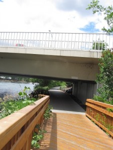 A view from the east along the Spokane River walkway in June of 2014